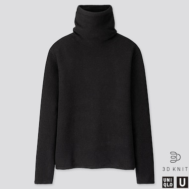 WOMEN U 3D PREMIUM LAMBSWOOL TURTLENECK SWEATER, BLACK, medium