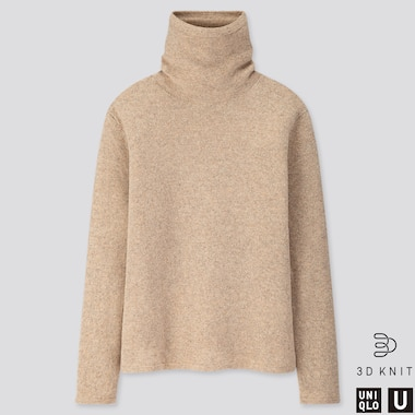 WOMEN U 3D PREMIUM LAMBSWOOL TURTLENECK SWEATER, NATURAL, medium