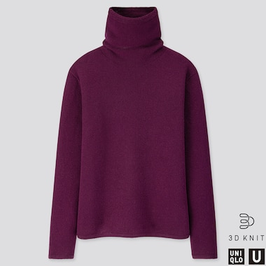 WOMEN U 3D PREMIUM LAMBSWOOL TURTLENECK SWEATER, PURPLE, medium