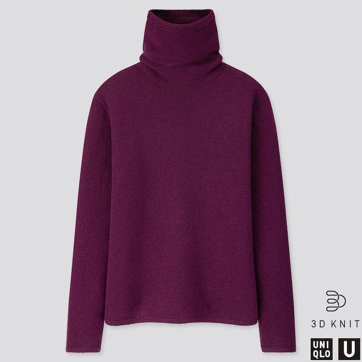 Women U 3d Premium Lambswool Turtleneck Sweater, Purple, Large