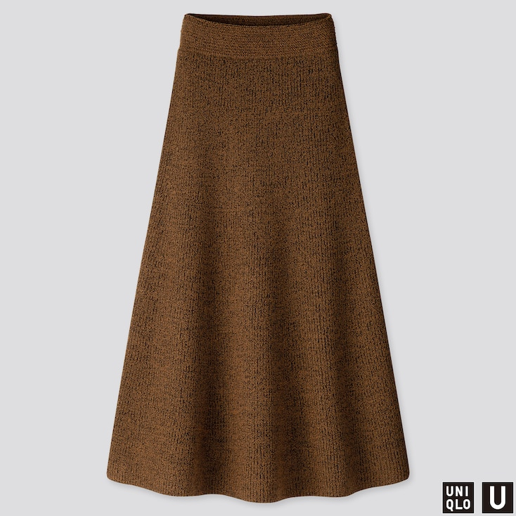 Women U Melange Flared Skirt, Brown, Large