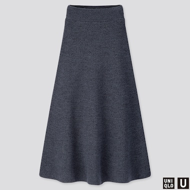 WOMEN U MELANGE FLARED SKIRT, BLUE, medium