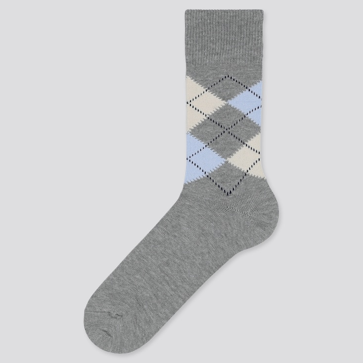 Men Argyle Socks, Gray, Large