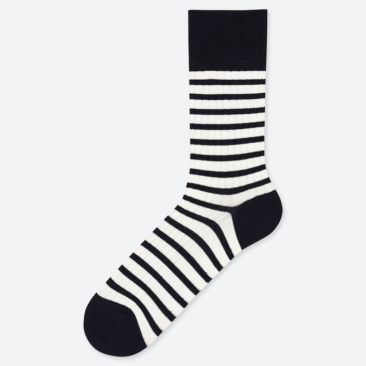 MEN STRIPED SOCKS, OFF WHITE, large