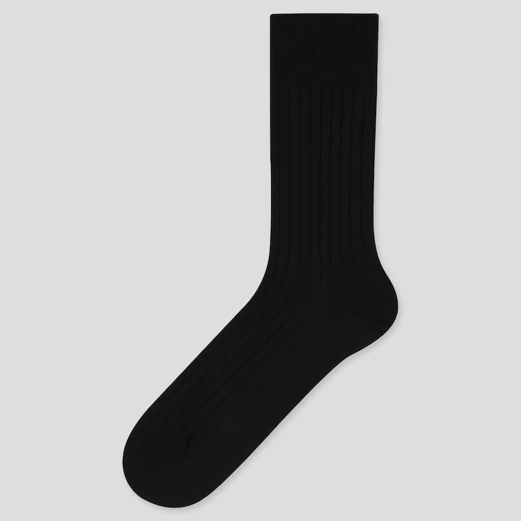 Men Supima© Cotton Wide-Ribbed Socks, Black, Large