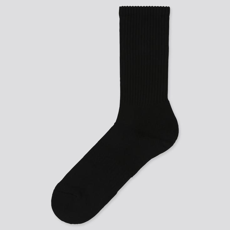 Men Pile Socks, Black, Large