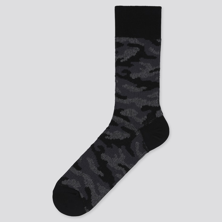 Men Camouflage Socks, Black, Large