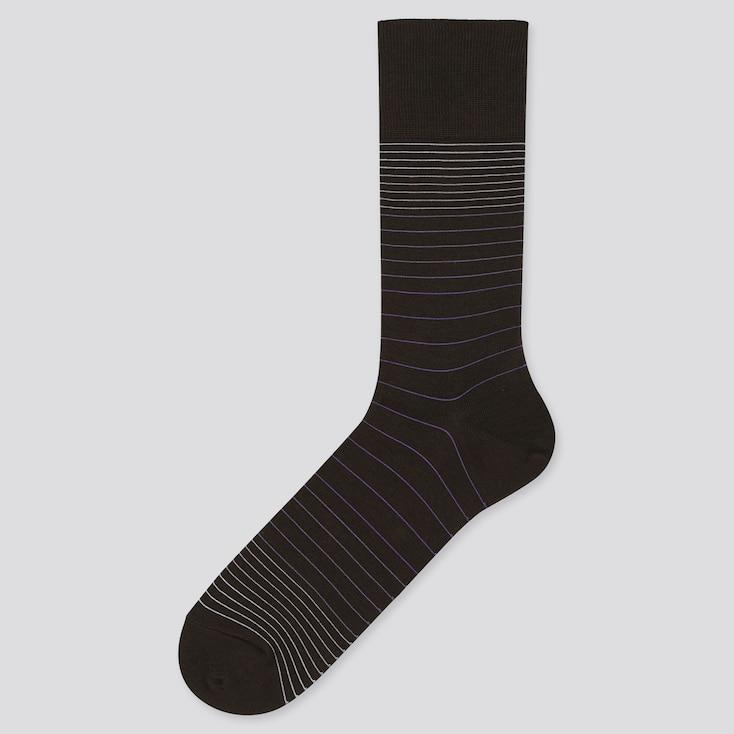 Men Striped Socks, Dark Brown, Large
