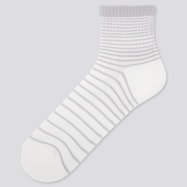 Men Pile Striped Half Socks, White, Medium