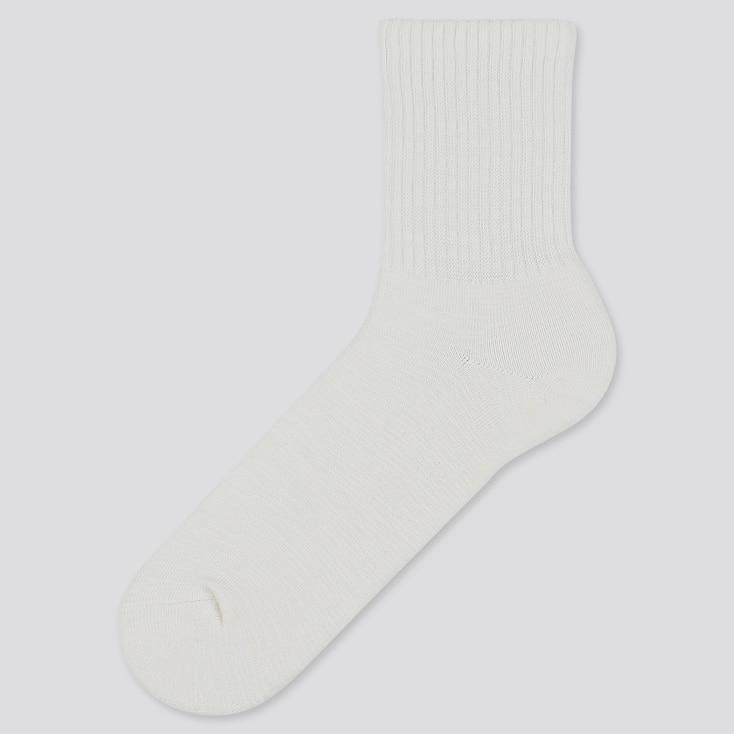 Men Slub Half Socks, White, Large