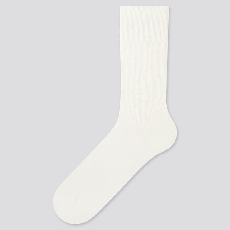 Men Heattech Pique Socks, Off White, Large