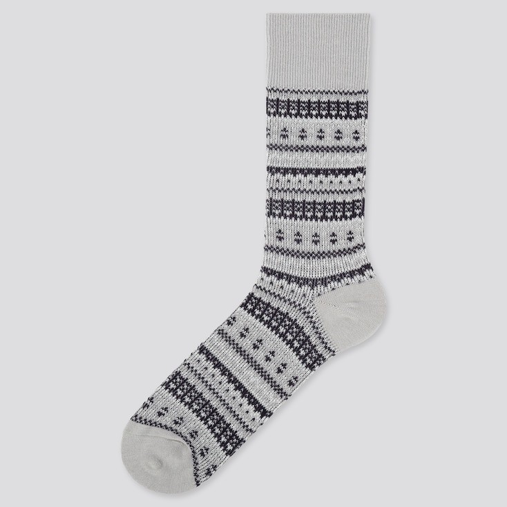 MEN HEATTECH FAIR ISLE SOCKS, GRAY, large