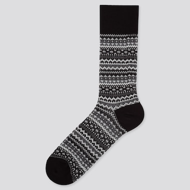 MEN HEATTECH FAIR ISLE SOCKS, BLACK, medium