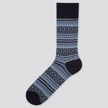 MEN HEATTECH FAIR ISLE SOCKS, BLUE, medium