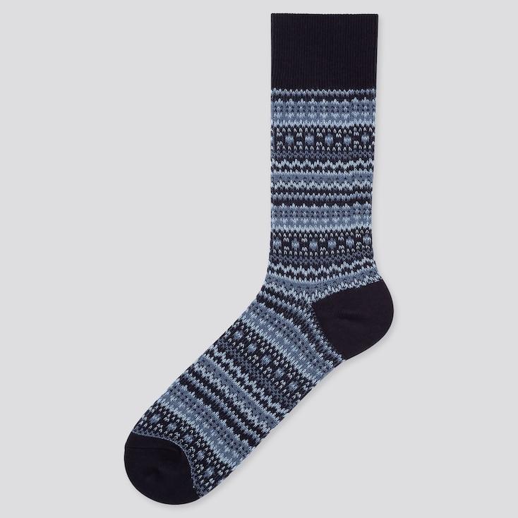 MEN HEATTECH FAIR ISLE SOCKS, BLUE, large