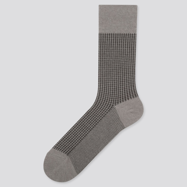 MEN HEATTECH HOUNDSTOOTH SOCKS, GRAY, large