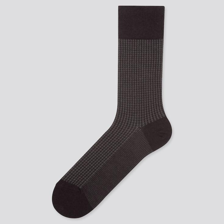MEN HEATTECH HOUNDSTOOTH SOCKS, BLACK, large
