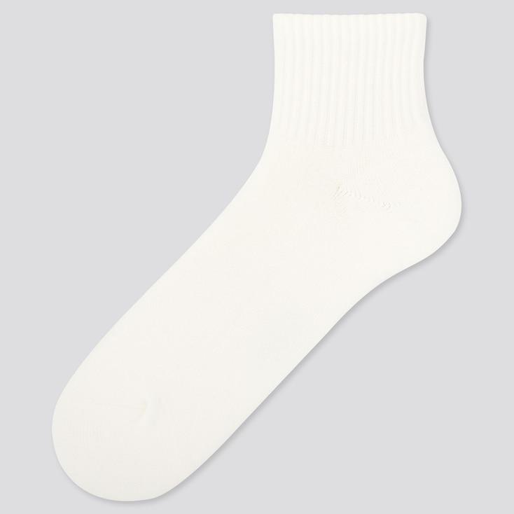 MEN HEATTECH PILE HALF SOCKS, OFF WHITE, large