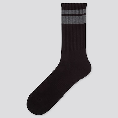 MEN HEATTECH PILE LINE SOCKS, BLACK, medium