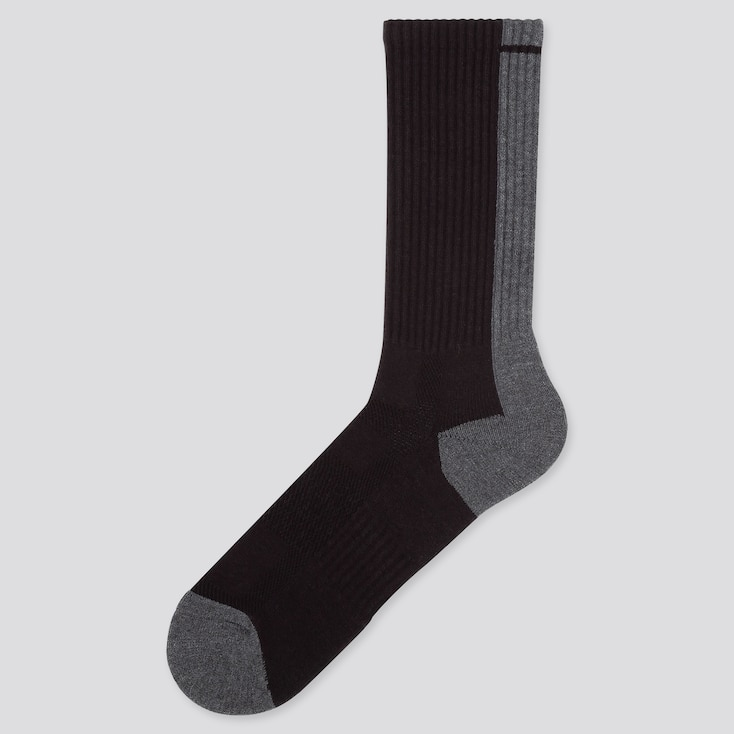 MEN HEATTECH PILE-LINE SOCKS, BLACK, large