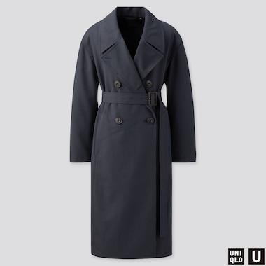 WOMEN U TRENCH COAT, BLUE, medium