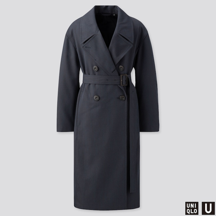 WOMEN U TRENCH COAT, BLUE, large