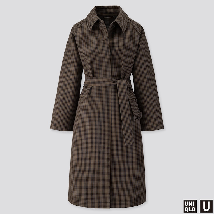 WOMEN U BLOCKTECH CHECKED COAT, BLACK, large