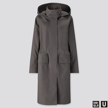 WOMEN U BLOCKTECH HOODED COAT, DARK GRAY, medium