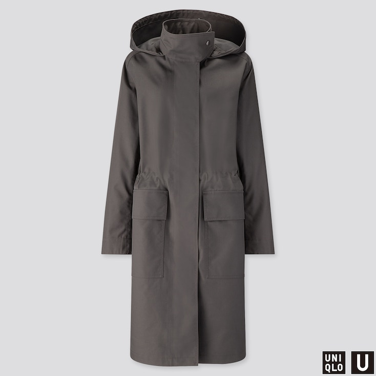 WOMEN U BLOCKTECH HOODED COAT, DARK GRAY, large
