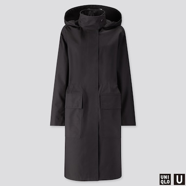 WOMEN U BLOCKTECH HOODED COAT, BLACK, medium
