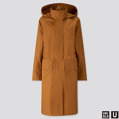 WOMEN U BLOCKTECH HOODED COAT, BROWN, medium