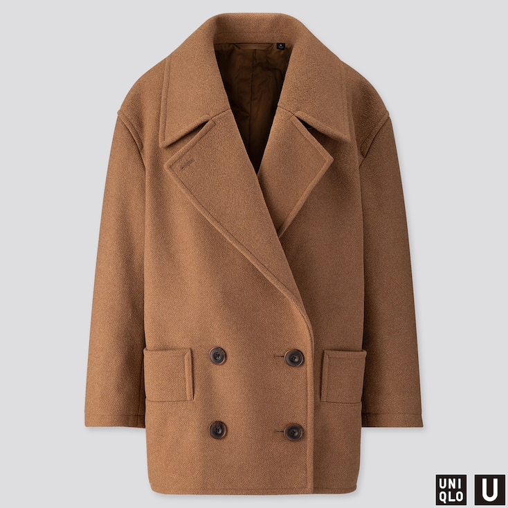 WOMEN U WOOL-BLEND PEACOAT, BEIGE, large
