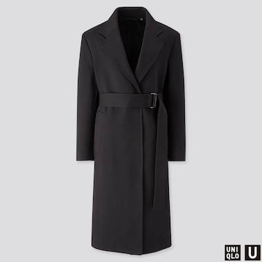 WOMEN U JERSEY BELTED CHESTER COAT, BLACK, medium