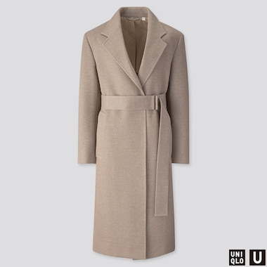 WOMEN U JERSEY BELTED CHESTER COAT, BEIGE, medium