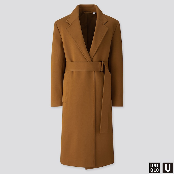 WOMEN U JERSEY BELTED CHESTER COAT, BROWN, large