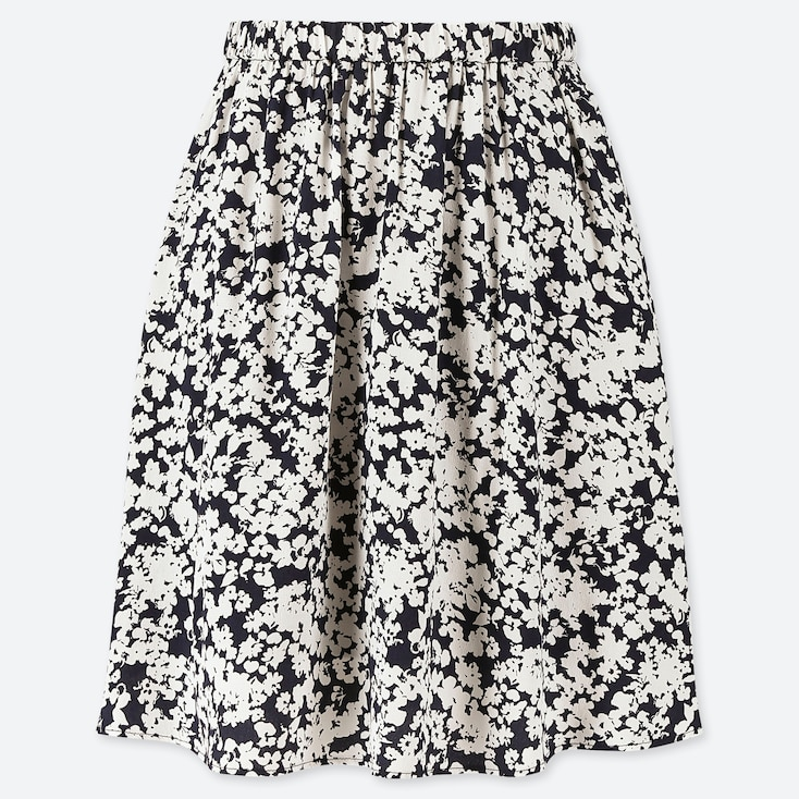 WOMEN PRINTED MINI FLARE SKIRT, WHITE, large