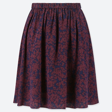 WOMEN PRINTED MINI FLARE SKIRT, WINE, medium