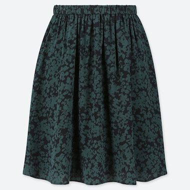 WOMEN PRINTED MINI FLARE SKIRT, DARK GREEN, medium
