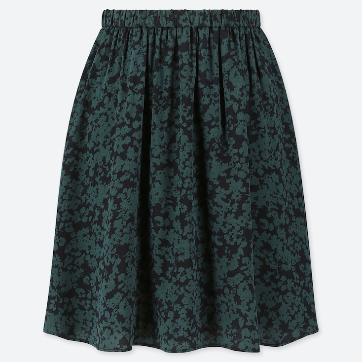 WOMEN PRINTED MINI FLARE SKIRT, DARK GREEN, large