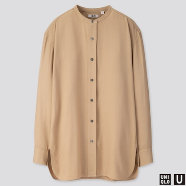 WOMEN U DRAPE TWILL STAND COLLAR LONG-SLEEVE SHIRT, BEIGE, medium