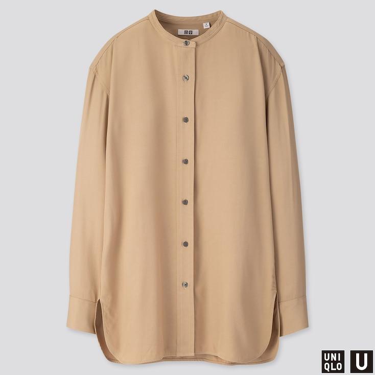 Women U Drape Twill Stand Collar Long-sleeve Shirt, Beige, Large