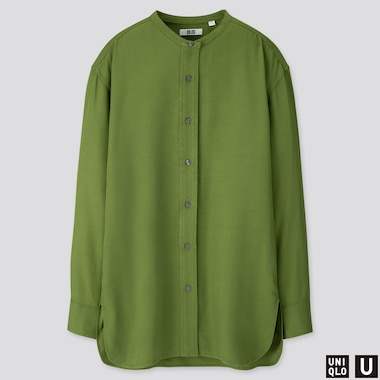 WOMEN U DRAPE TWILL STAND COLLAR LONG-SLEEVE SHIRT, GREEN, medium