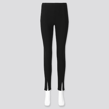 WOMEN RIBBED FRONT-SLIT LEGGINGS, BLACK, medium