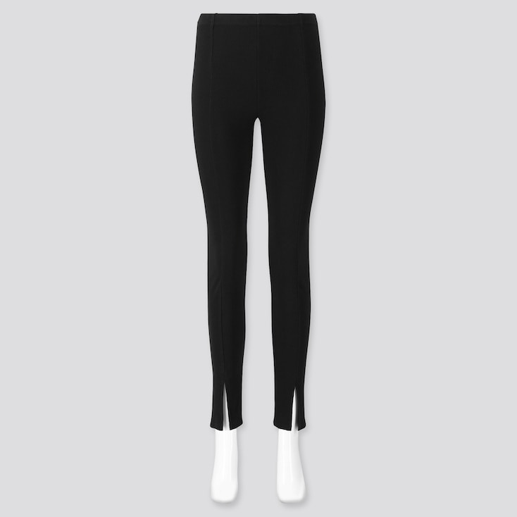 Women Ribbed Front-Slit Leggings, Black, Large