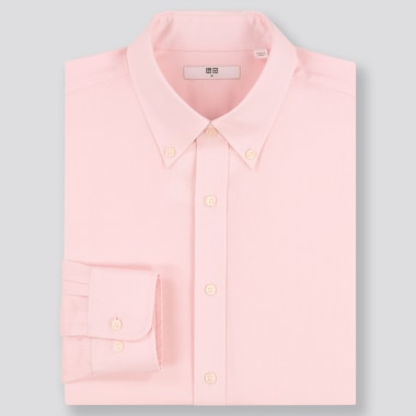 MEN EASY CARE DOBBY REGULAR-FIT LONG-SLEEVE SHIRT (ONLINE EXCLUSIVE), PINK, medium