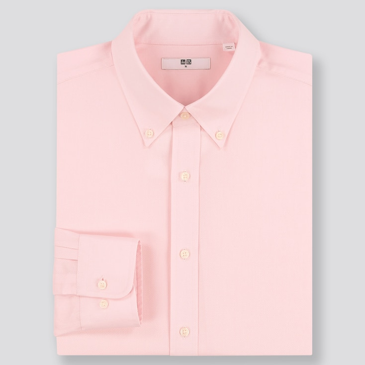 MEN EASY CARE DOBBY REGULAR-FIT LONG-SLEEVE SHIRT (ONLINE EXCLUSIVE), PINK, large