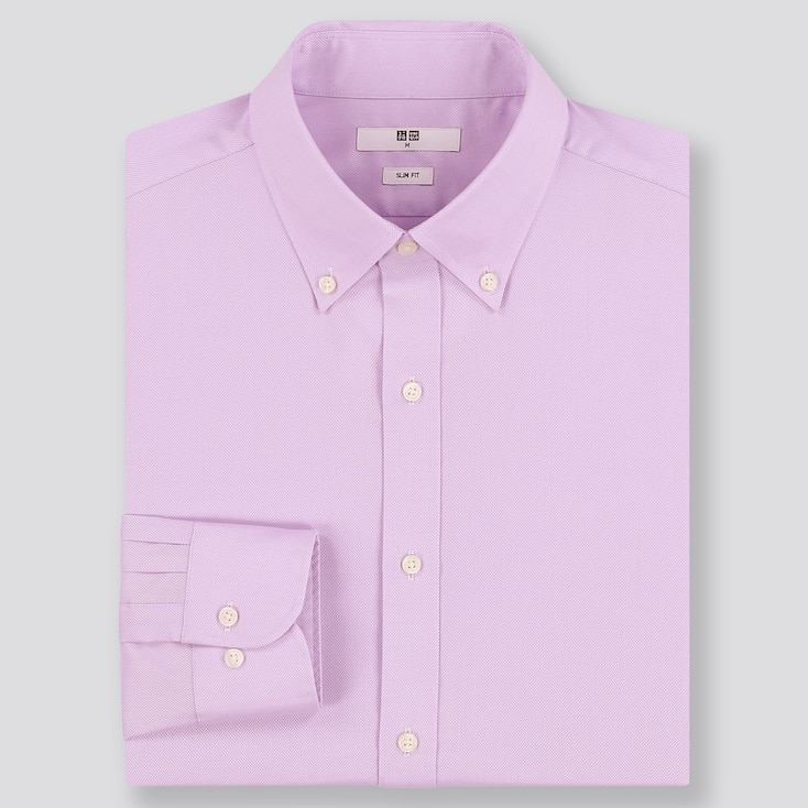MEN EASY CARE OXFORD STRETCH SLIM-FIT LONG-SLEEVE SHIRT, PURPLE, large