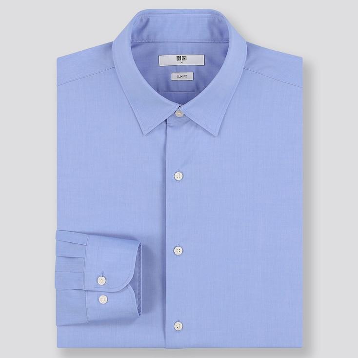 MEN EASY CARE SLIM-FIT LONG-SLEEVE SHIRT, BLUE, large