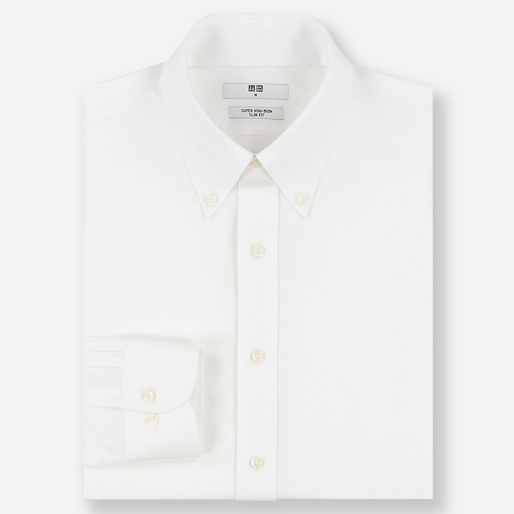 MEN SUPER NON-IRON SLIM-FIT LONG-SLEEVE SHIRT, WHITE, large