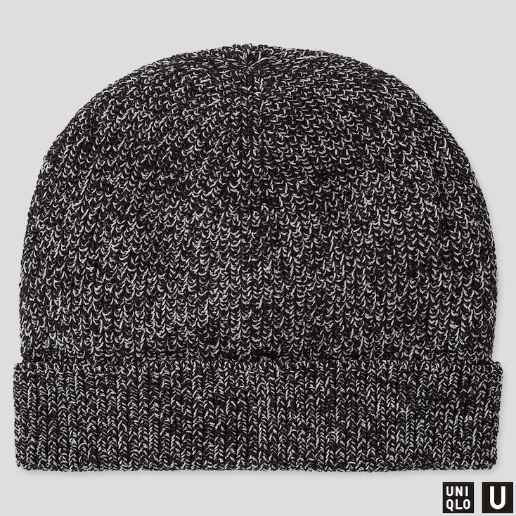 U KNITTED CAP, BLACK, large